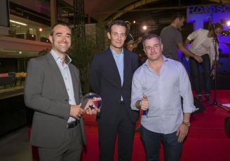 (de gauche à droite) : Nicolas Régnier, Président, Alexandre De Rotschild, Simon Valadou, Directeur lors de la remise du Tech Award de Rotschild & Co à la Station F