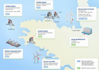 Bretagne : carte des projets en énergie marine renouvelables