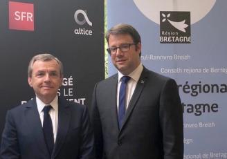 Alain Weil, Président Directeur Général d'Altice France et Loïg Chesnais-Girard, Président du Conseil Régional de Bretagne