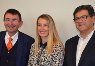 de g à d , Denis Lambert,Président-directeur général de LDC, Anne-Lise Clavel, responsable marketing SBV et Roland Tonarelli, directeur général SBV,