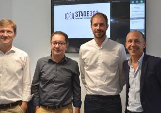 DE G à D : Antoine Péculier, directeur de Stage301 , Olivier Méril, CEO de MV Group, Matthieu Beucher, CEO de Klaxoon et Jérôme Armbruster, CEO de Hellowork
