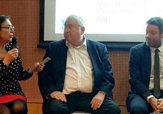 de g à d : Marie-Claire Diouron, Présidente de Saint-Brieuc Armor Agglomération, Thierry Troesch, Président de la CCI des Côtes d'Armor et Gaël Guégan, Directeur du Développement économique à la Région