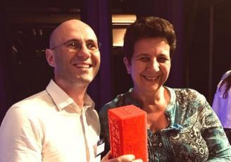 Franck Botta, CEO de Wizama et Frédérique Vidal, Ministre de l'Enseignement Supérieur, de la Recherche et de l'Innovation.