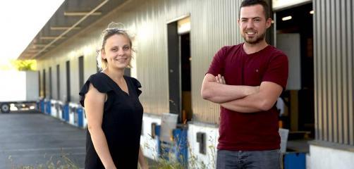 Carole Magnan, Responsable du développement des ressources humaines chez DistriCenter et Julien Herbel, chargé de projet supply chain