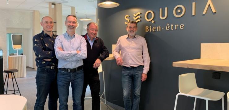 Fabrice Busnel, médecin du FCL, Philippe Orst, dirigeant de l'agence Le Ciré Jaune, Jacques Piriou, dirigeant finistérien et Gérard Le Faouder, entrepreneur lorientais, sont associés pour l'ouverture de Séquoia Bien-être.